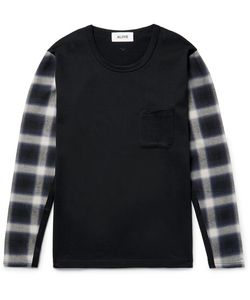 Aloye | Panelled Checked Flannel And Cotton-Jerey T-Hirt
