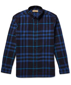 Burberry | Button-Down Collar Checked Cotton-Flannel Shirt