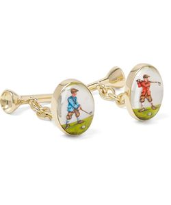 Deakin & Francis | Golfer And Tee 18-Karat Painted Cufflinks
