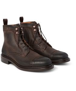 O'Keeffe | Felix Distressed Leather Brogue Boots