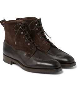 EDWARD GREEN | Nevis Shearling-Lined Cross-Grain Leather Boots