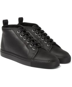 Harrys Of London   Gus Shearling-Lined Leather High-Top Sneakers