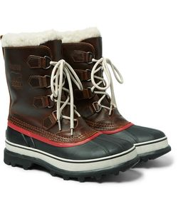 Sorel   1964 Faux Shearling-Trimmed Waterproof Leather And Rubber Boots