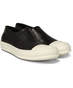 Rick Owens | Rubber-Trimmed Leather Slip-On Sneakers