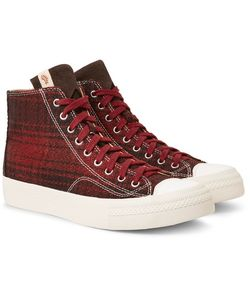 Visvim | Skagway Suede-Trimmed Checked Wool High-Top Sneakers