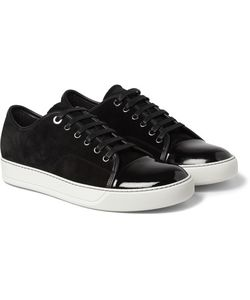 Lanvin | Cap-Toe Suede And Patent-Leather Sneakers