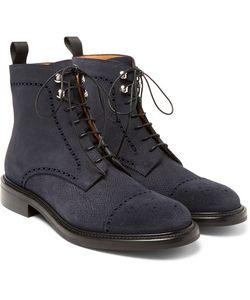 O'Keeffe | Felix Pebble-Grain Suede Brogue Boots