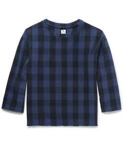 Sasquatchfabrix | Sashiko Embroidered Checked Cotton T-Shirt