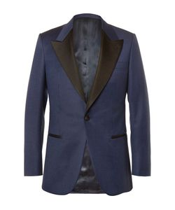 Kingsman   Slim-Fit Faille-Trimmed Checked Wool Tuxedo Jacket