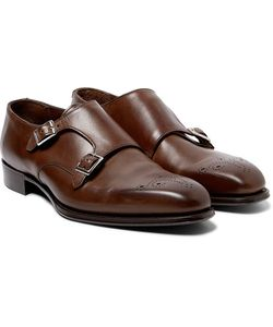 Kingsman   George Cleverley Brogue-Detailed Leather Monk-Strap Shoes