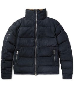 Michael Bastian | Corduroy-Trimmed Quilted Suede Down Jacket