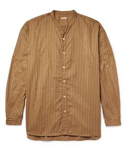 Kapital | Grandad-Collar Striped Cotton Oxford Shirt