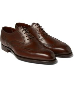 GEORGE CLEVERLEY | Reuben Burnished-Leather Wingtip Brogues