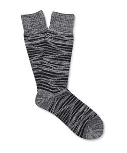 Mr. Gray | Space-Dyed Ribbed-Knit Socks