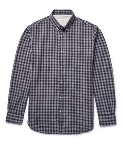 Officine Generale   Button-Down Collar Gingham Cotton-Flannel Hirt