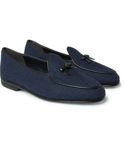 RUBINACCI | Marphy Leather-Trimmed Flannel Loafers