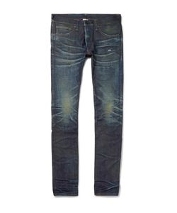 Fabric-Brand & Co | Slim-Fit Distressed Selvedge Denim Jeans