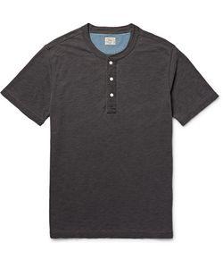 Faherty | Indigo-Dyed Slub Cotton-Jersey Henley T-Shirt