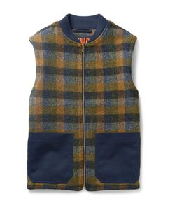 The Workers Club | Checked Wool Gilet