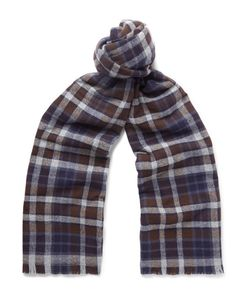 Kingsman   Drakes Checked Merino Wool And Cashmere-Blend Scarf
