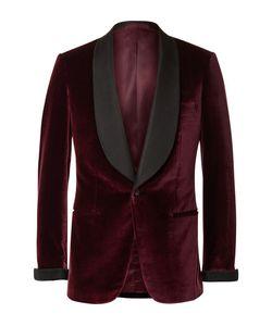 Kingsman   Slim-Fit Faille-Trimmed Velvet Tuxedo Jacket