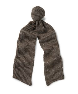 INIS MEÁIN | Ribbed Mélange Merino Wool And Cashmere-Blend Scarf