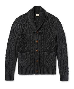 Faherty | Hawl-Collar Indigo-Dyed Cable-Knit Cotton Cardigan