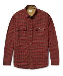 Faherty | Suede Elbow-Patch Houndstooth Woven Overshirt