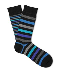 Marcoliani | Striped Pima Cotton-Blend Socks