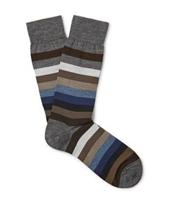 Marcoliani | Striped Merino Wool-Blend Socks