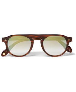 Garrett Leight California Optical | Harding 47 Round-Frame Tortoiseshell Acetate Mirrored Sunglasses