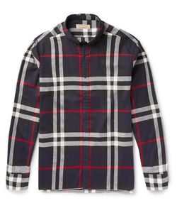 Burberry | Slim-Fit Button-Down Collar Checked Cotton-Flannel Shirt