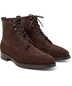 EDWARD GREEN | Nevis Shearling-Lined Suede Boots