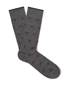 Marcoliani | Bicycle-Patterned Merino Wool-Blend Socks