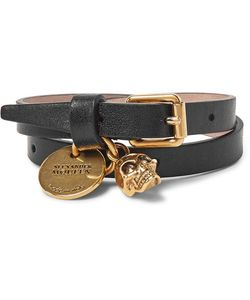 Alexander McQueen | Leather And Burnished Tone Skull Wrap Bracelet