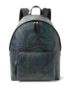 Burberry | Leather-Trimmed Printed Faux Leather Backpack