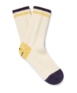 Kapital | Smiley Face Ribbed Cotton-Blend Socks