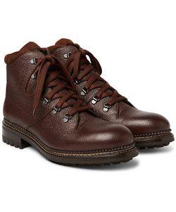 O'Keeffe | Austin Shearling-Lined Weatherproof Pebble-Grain Leather Boots