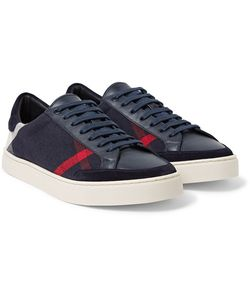 Burberry   Suede-Trimmed Leather And Checked Canvas Sneakers
