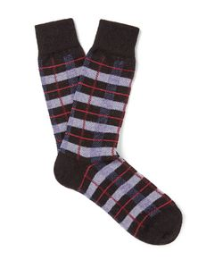 Anonymous Ism | Checked Wool-Blend Socks