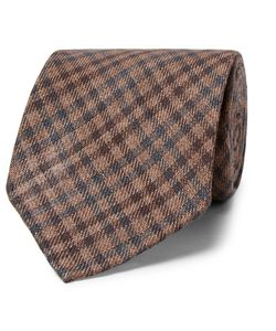 Thom Sweeney | 8cm Checked Wool And Silk-Blend Tie