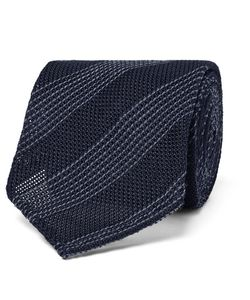 Thom Sweeney | 8cm Striped Silk And Wool-Blend Tie Midnight