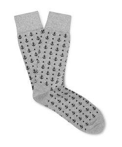 Corgi | Anchor-Patterned Cotton-Blend Socks