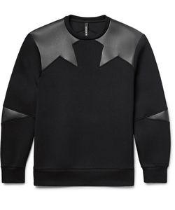 Neil Barrett   Faux Leather-Panelled Bonded Jersey Sweatshirt