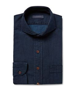 Thom Sweeney | Cutaway-Collar Cotton-Chambray Shirt