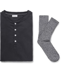 Schiesser | Karl Heinz Cotton-Jersey Henley T-Shirt And Stretch Cotton-Blend Socks