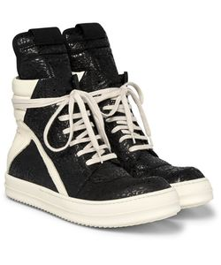 Rick Owens | Geobasket Coated-Nubuck And Leather High-Top Sneakers