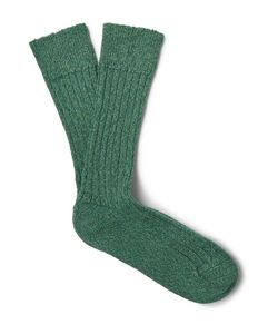 The Workers Club | Mélange Stretch Merino Wool-Blend Socks