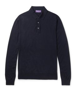 Ralph Lauren Purple | Label Knitted Merino Wool Polo Shirt