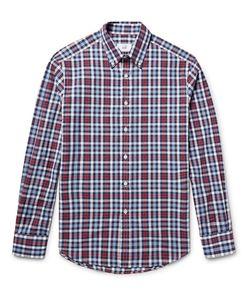 Dunhill | Button-Down Collar Checked Cotton Oxford Shirt